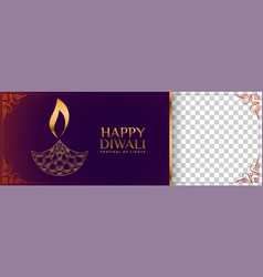 happy diwali hindu festival banner with vector image