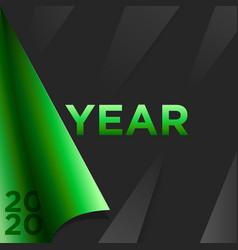 Happy new year 2020 banner golden green vector