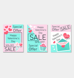 happy valentine s day set flyer voucher in modern vector image