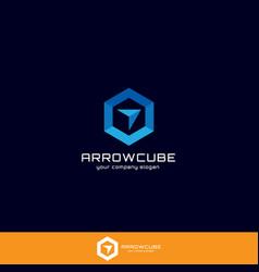 Hexagon forward box arrow abstract polygon logo vector