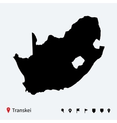 High detailed map of Transkei with navigation pins vector image