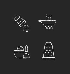 Home cooking chalk white icons set on dark vector