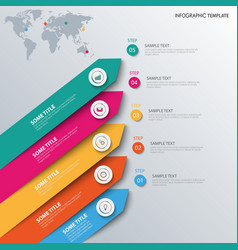 Info graphic with colored sloping design arrows vector