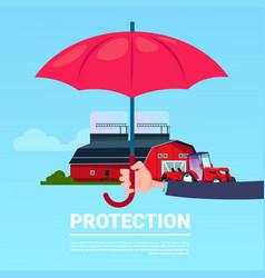 Insurance service hand umbrella protective tractor vector