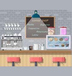 Interior coffee shop pub cafe or bar vector