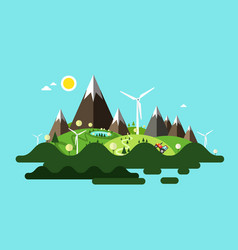 island with mountains and windmills vector image