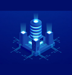 Isometric digital technology web banner big data vector