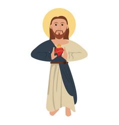jesus christ with sacred heart spirituality image vector image