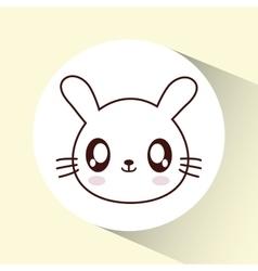 Kawaii rabbit icon Cute animal graphic vector