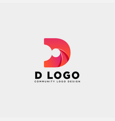 Letter d community human logo template icon vector