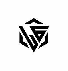 lg logo monogram with triangle and hexagon modern vector image