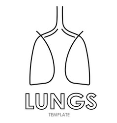 linear stylized drawing of lungs vector image