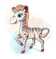 Little zebra in watercolor style vector
