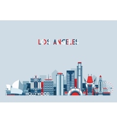 Los Angeles United States City Skyline Flat vector