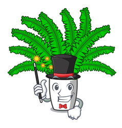Magician fresh fern branch isolated on mascot vector