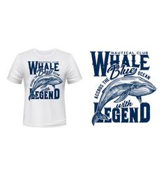 Marine t-shirt print nautical club ocean whale vector