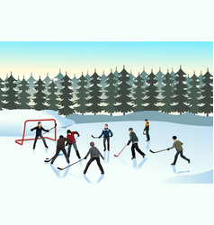 Men playing ice hockey outdoor vector