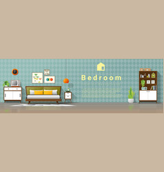 mid century modern bedroom background vector image