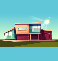 Modern villa exterior front view cartoon vector