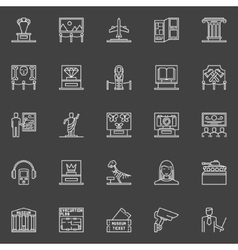 Museum linear icons set vector image