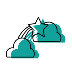 natural clouds with shiny shooting star vector image
