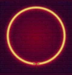 neon lamp in shape circle brick wall lit vector image