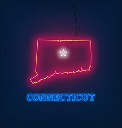 neon map state of connecticut on dark background vector image