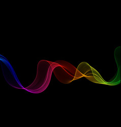 neon smooth bright rainbow wave on a black vector image