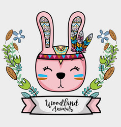 Nice rabbit tribal animal with feathers and ribbon vector