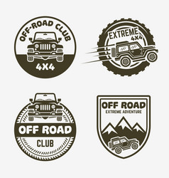 off-road suv car vintage labels emblems badges vector image