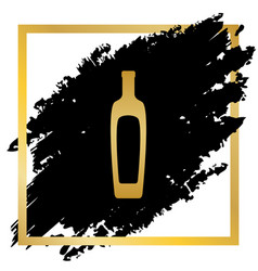 Olive oil bottle sign golden icon at vector