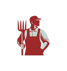 Organic Farmer Pitchfork Retro vector image