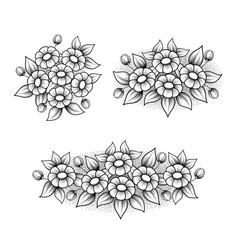 outline daisy elements set vector image