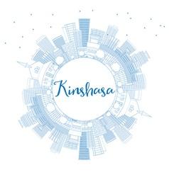 Outline kinshasa skyline with blue buildings vector