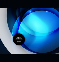 Overlapping circles on glowing abstract background vector