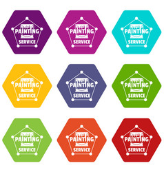 painting service icons set 9 vector image