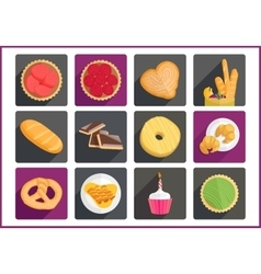 Pastry flat icons set vector