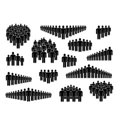 People group icons big crowd sign corporate vector