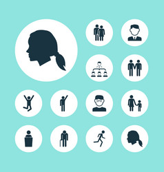 People icons set with pupil speaker vector