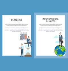 Planning and international business set of posters vector