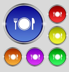 Plate icon sign Round symbol on bright colourful vector