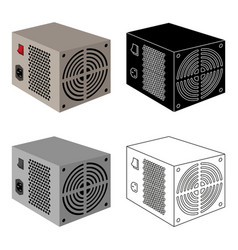 Power supply unit icon in cartoon style isolated vector