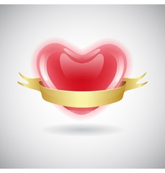 Red heart icon with ribbon vector