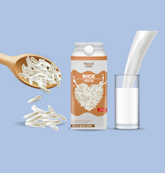 rice milk pouring mock up realistic vector image