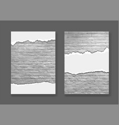 ripped paper on modern brick wall texture vector image