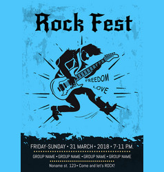 Rock fest event announcement poster design vector