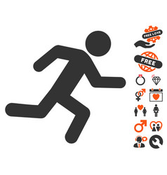 Running man icon with dating bonus vector