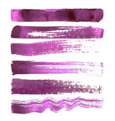 set of magenta brush strokes vector image