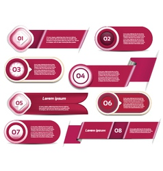 Set of red-violet progress version step icons eps vector