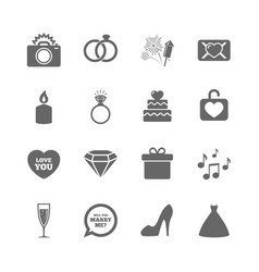 set of wedding and engagement icons vector image